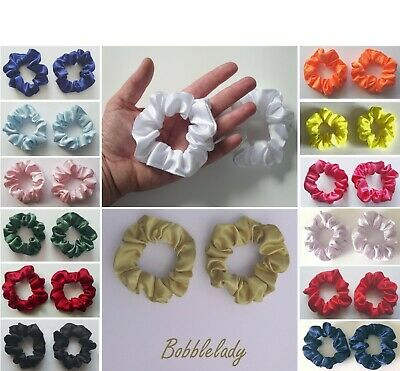 2 x SMALL SATIN SCRUNCHIES (Child / Thin Hair) - Choice Of Colour *MADE IN UK*