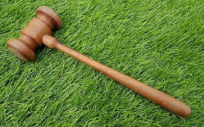 Vintage long chunky head auctioneer's auction hammer gavel wood wooden Masonic