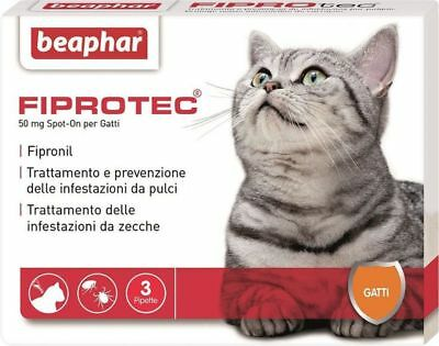 Beaphar Fiprotec Antiparassitario Gatto Spot On Gatti 3 pipette da 50 mg