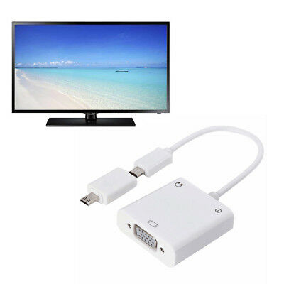 LK_ Micro USB to VGA Cable HDMI Adapter 3.5mm Audio Jack Converter for Samsung