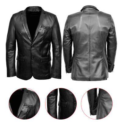 Classic Blazer Retro Vintage Slimfit Mens Real Leather Jacket New Stylish Coat