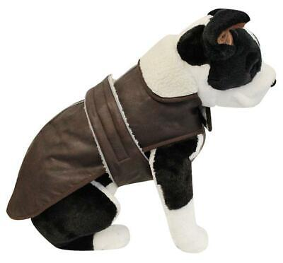 Alcott Dog Faux Leather Bomber Jacket - Fleece Lined - Weather Resistant - Small