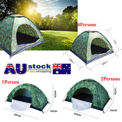 1&2&4 Person Outdoor Foldable Camouflage Tent Camping Hiking Travel Waterproof
