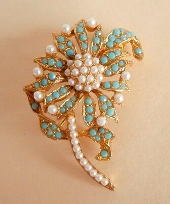 Vintage Turquoise Pearl Seed Bead Flower Wedding Party Prom Brooch Gift Bag