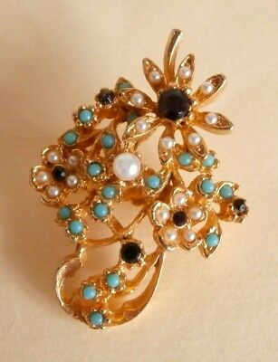 Vintage Turquoise & Pearl Seed Bead Flower Wedding Party Prom Brooch  Gift Bag