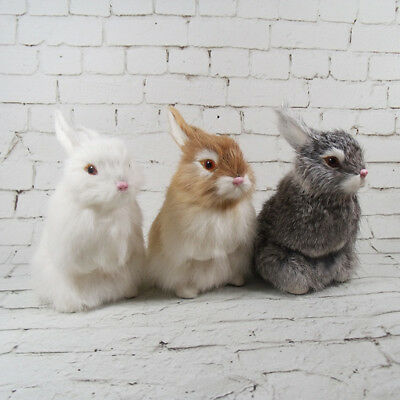 LK_ Realistic Artificial Rabbit Lifelike Easter Bunny Furry Animal Figurine Ex