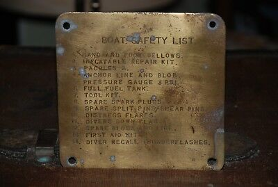 Original Brass Ship/Boat/Trawler Safety list/plaque/sign. must see