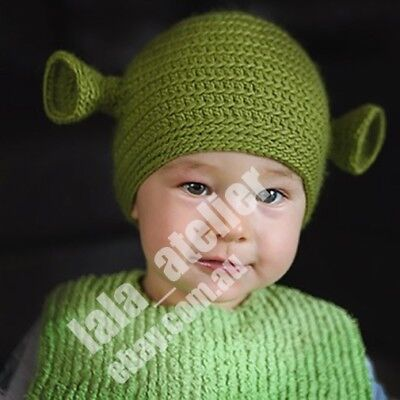 Baby size 3-6 months size Shrek hand made hat.