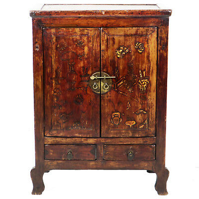 """Antique Chinese 2 Door Gansu Cabinet 32"""" Wide 42"""" Tall, Brown Lacquer"""