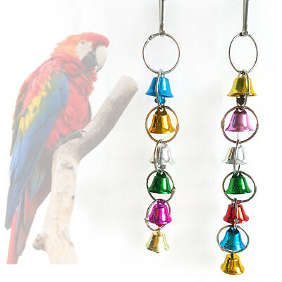 LK_ Colorful Bell Bird Parrot Cage Swing Climbing Chewing Hanging Toy Pet Toys