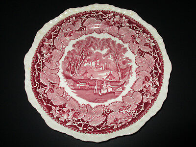 """Vintage Mason's """"Vista"""" Pink/Red Dinner Plate-- 10""""--Made in England"""