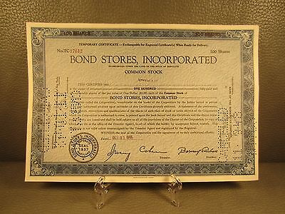 1945 Bond Stores  Antique Stock Certificate - FREE SHIPPING !!