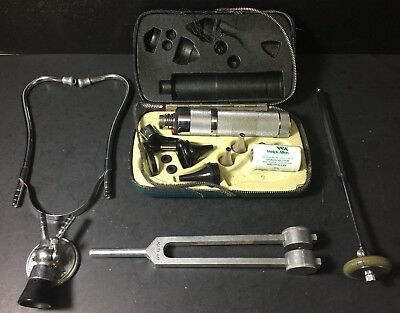 Lot of (4) Vintage Medical Devices Stethoscope Otoscope, Neurohammer Tuning Fork