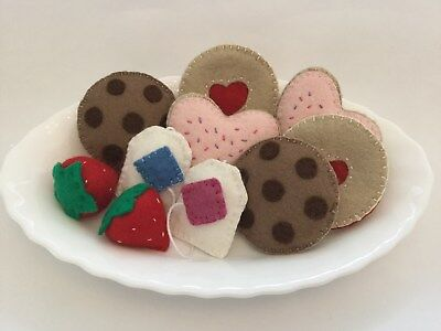 Handmade Felt Cookies / Biscuits & Tea Party Set - Toy Pretend Play Food Kitchen