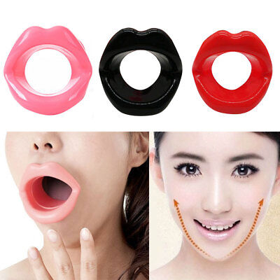 Silicone Rubber Face Slimmer Mouth Muscle Tightener Exerciser Lip Oral Chin Jaw~
