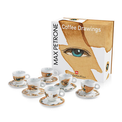 ILLY COLLECTION 2018 MAX PETRONE 6 CAPPUCCINO Cups Signed Coffee Cup