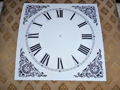 "Ogee Wall / Shelf Paper Clock Dial - 7 1/4"" M/T- Roman- Black Corner Design"