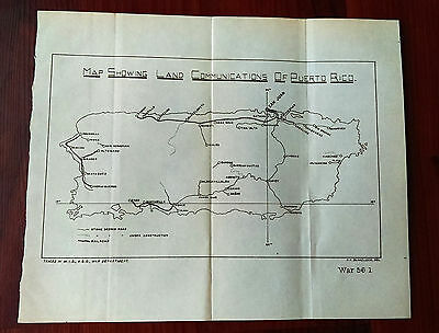 1901 Map Showing Land Communications of Puerto Rico by War Department