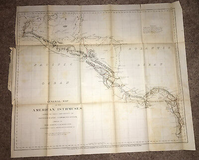 1866 Map of American Isthmuses Proposed Interoceanic Communications CH Davis USN