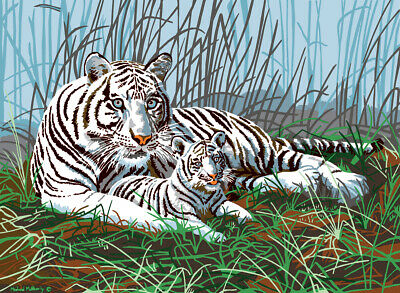 "Royal Brush Junior Large Paint By Number Kit 15.25""X11.25""-White Tiger (4Pk)"