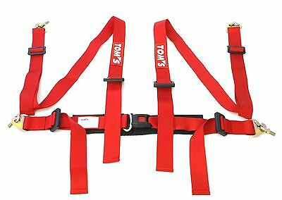 "Tom's Racing Japan 4 Point 2"" Red Seat Belt Safety Harness With Eyelets Z1846"