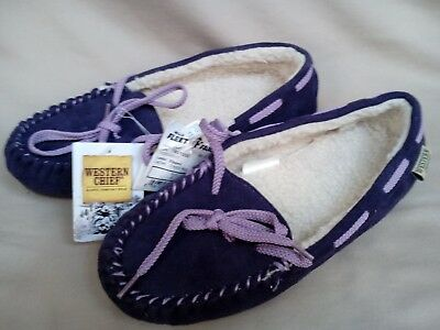 Moccasin Slippers Womens Size 6 Western Chief Ladies' Cresta Purple Leather Tie