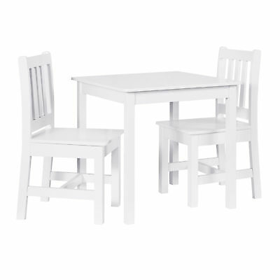 Linon Mdf And Pine Table Chair Set In White Finish YT108WHT01U