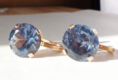 Pair Antique Heavy 14ct Gold Earrings Set With Large Colour Changing Sapphires