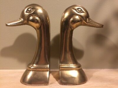Vintage Antique Heavy Brass Duck Head Book Ends, Nice Duckhead Bookends!