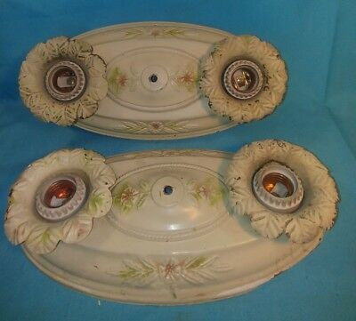 Antique Pressed Tin Flush Mount Double Bulb Ceiling Light Fixture Shabby chic 2