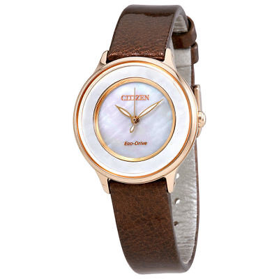 NEW* Citizen Eco Drive EM0383-08D MOP Dial Stainless Brown Leather Women's Watch