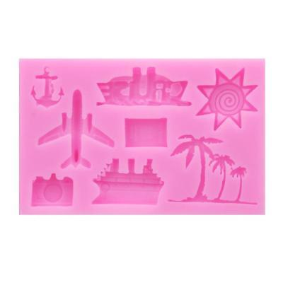 3D Palm Tree Airplane Silicone Fondant Chocolate Cake Mold Decorating Mould LH