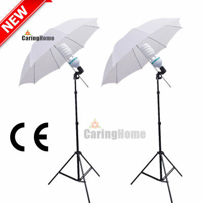 "Photo 2x135W Photography Studio 33"" Umbrella Continuous Lighting Stand Bulb Kit"