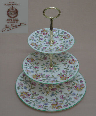 "Minton ""Haddon Hall"" (Green Trim) THREE TIER CAKE STAND"