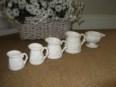 Pottery Creamer Pitchers 4 in Grapes and Leaves and a Tureen, White Vintage
