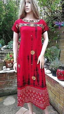 Fair Trade Unique Scarlet Red Batik Indian Ethnic Beaded Long Tunic Boho Dress M