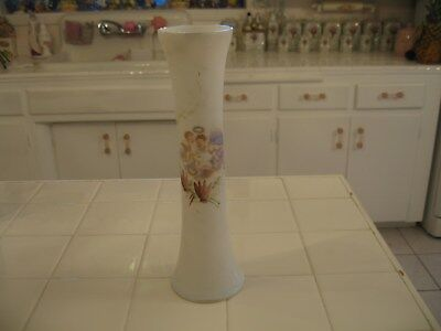 Pretty Antique Tall White Opaline Glass Vase With Hand Painted HP Cherubs