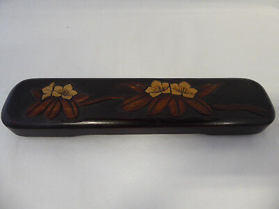 Vintage Japanese Carved Paint Brush Box with 3 Paint Brushes