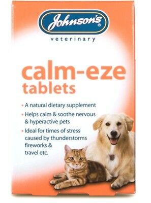 Johnsons Calm-eze Tablets Dog Cat Stress Calm Natural Fireworks Anxiety Calmeze