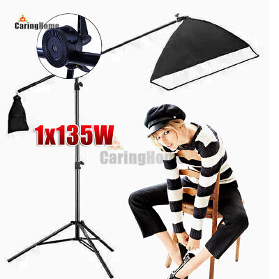 New 135W Photography Studio Photo Video Continuous Light Soft Box Boom Arm Kit