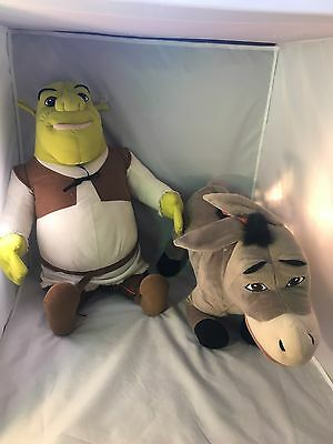 Jumbo Shrek & Donkey Stuffed Plush Dreamworks Hasbro 2004 Large Animals Toys Lot