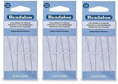 2 Pack Beadalon Collapsible Eye Needles 2.5-Inch Fine 4//Pack