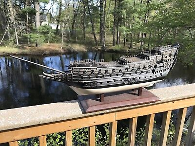 Large Antique Wooden Model Ship for Restoration Handmade 19th Century Victorian