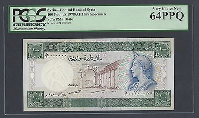 Syria Syrie 100 Pounds 1978 P104bs  Specimen Uncirculated