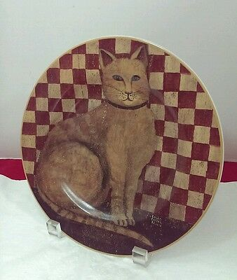 Striped Cat Plate Country Kitties David Carter Brown