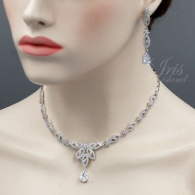 White Gold Plated Clear Cubic Zirconia Necklace Earrings Wedding Jewelry Set 081