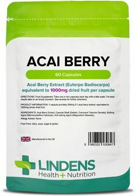 Acai Berry 1000mg 60 Pills Fat Burner Weight Loss Detox Diet Slimming Lindens