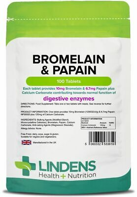 Bromelain and Papain 10/100mg Tablets Digestive Protein Enzymes Lindens UK