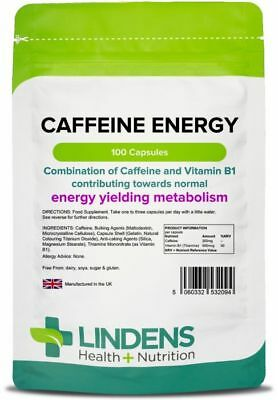 Caffeine 200mg 100 Capsules with B1 for Energy, Metabolism, Tiredness Lindens UK