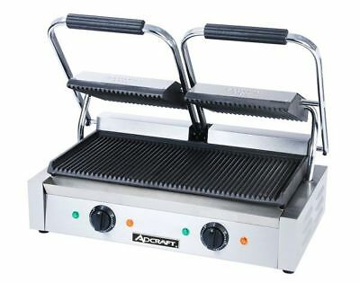 COMMERCIAL KITCHEN COUNTERTOP Double Ribbed Panini Sandwich Grill 21 ...